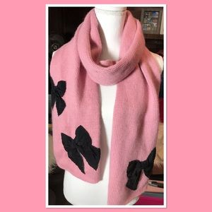 Kate Spade Mauve Scarf with Black Bows